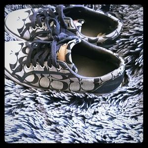 Coach shoes coach symbol pattern black and grey